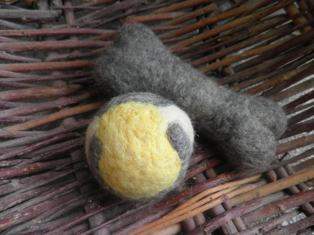 Wool Dog Toys, set of 2 dog toys. GREY SET ONLY READY TO SHIP. Eco friendly toy. Pure and natural dog toys.